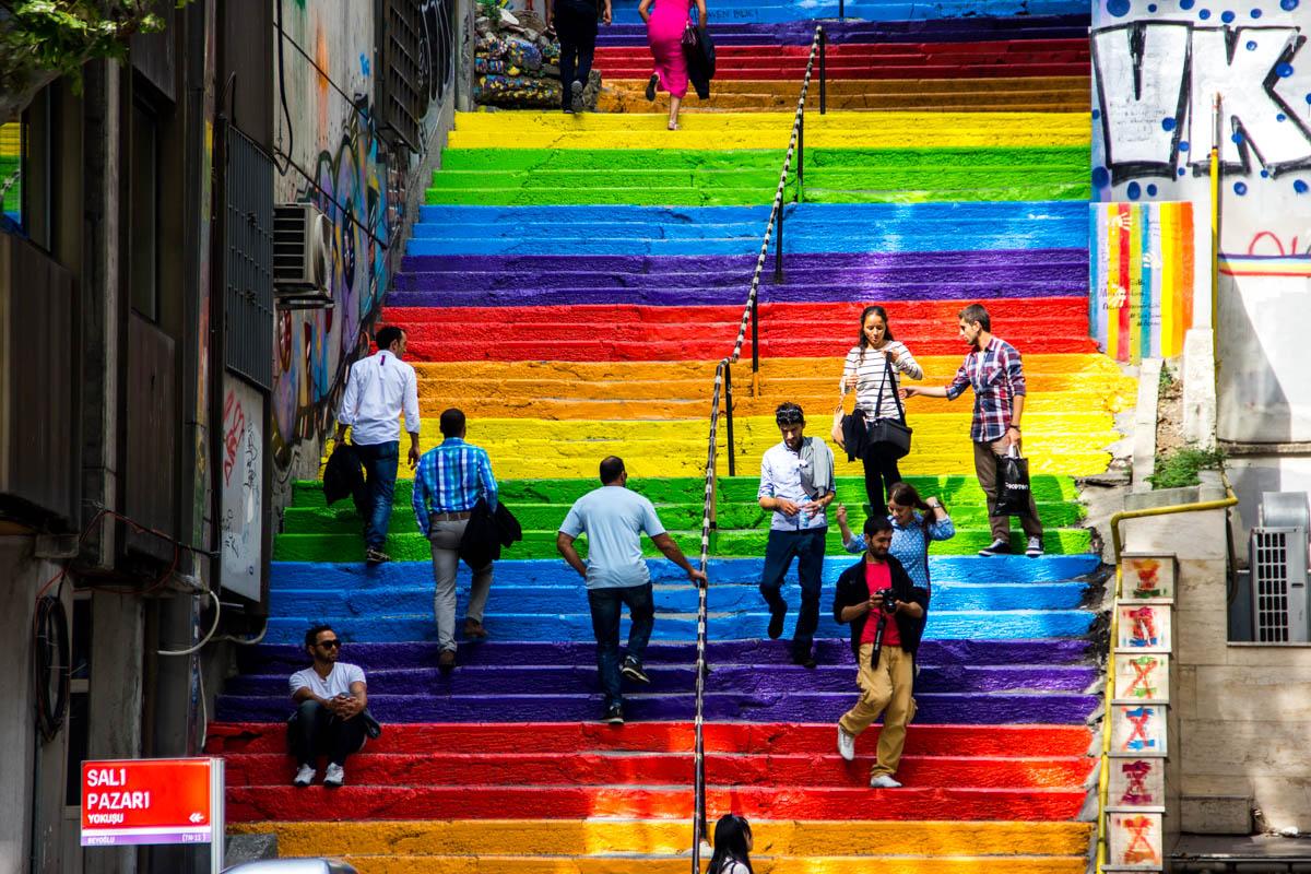 The LGBT stairs in Beyoglu, Istanbul