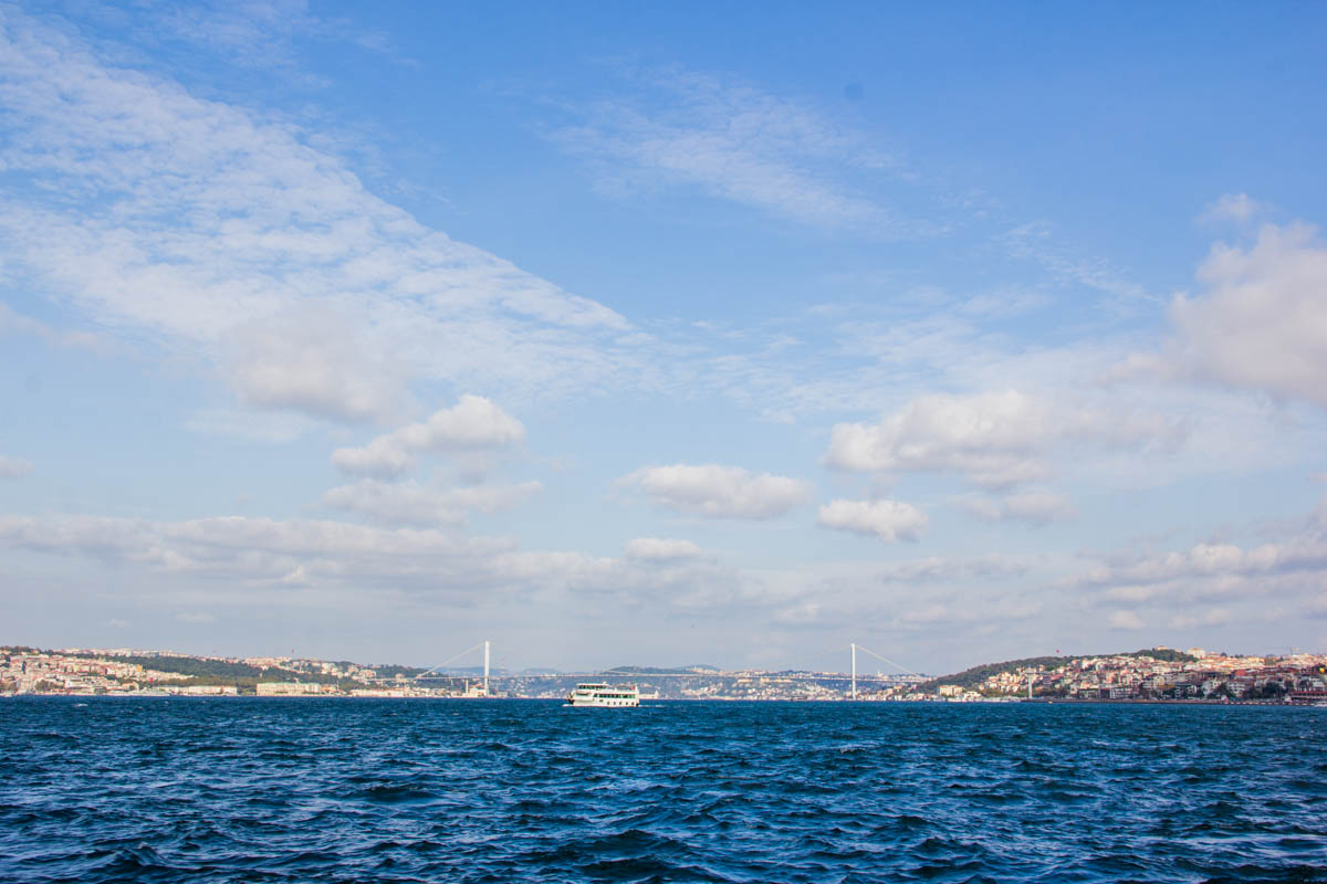 Bosporus bridge: right side is Asia. Left side is Europe