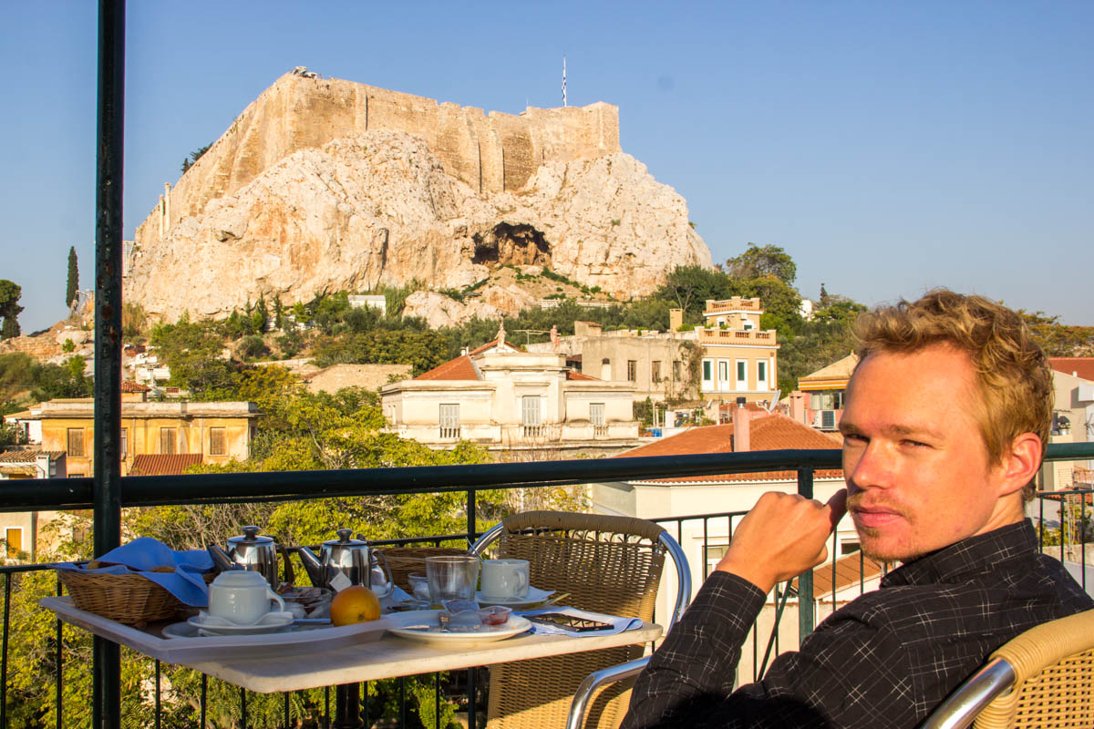 Tough life... breakfast on the rooftop of the hotel while overlooking the Acropolis :-)
